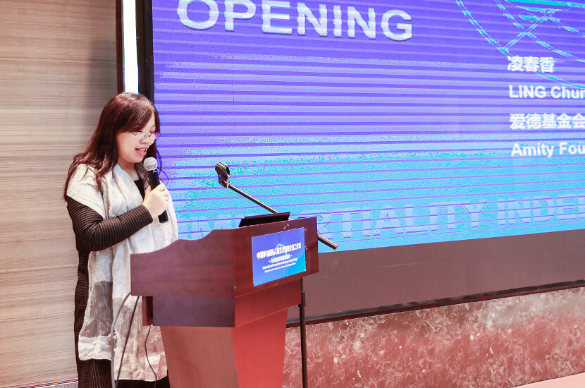 Amity General Secretary Ling Chunxiang speaking on international humanitarian work