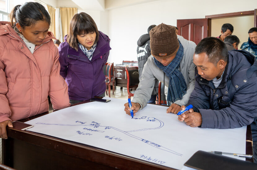 planning of a community development project with locals