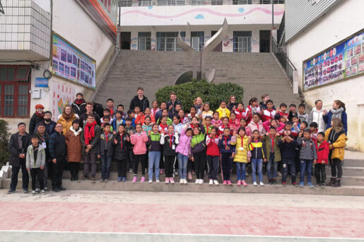Overseas volunteers with high school students in remote regions of China