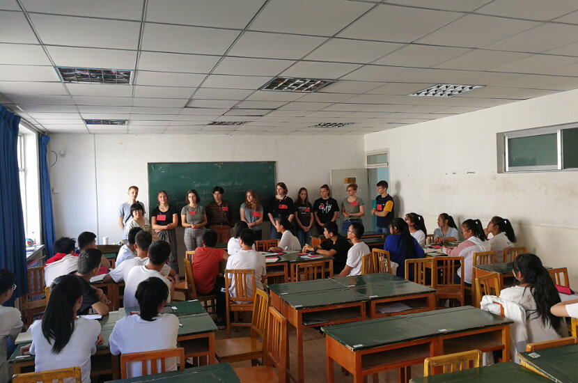 Overseas volunteers teaching students in Gansu during their gap year