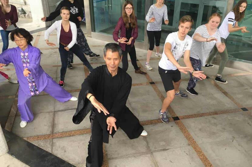 Overseas volunteers doing Tai Chi with Chinese masters