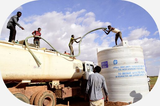 Water tank truck delievers water during drought in Ethiopia
