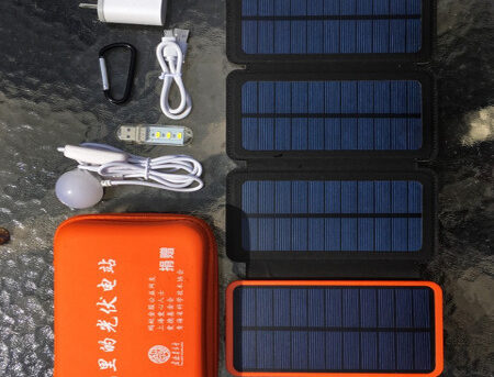 photovoltaic power station set with foldable solar panels and LED and bulk lights