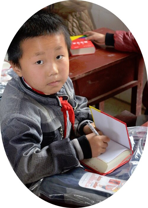 Student reading a English-Chinese dictonary