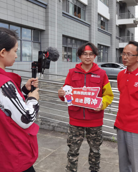 Amity staff interviews local partner during the live broadcast