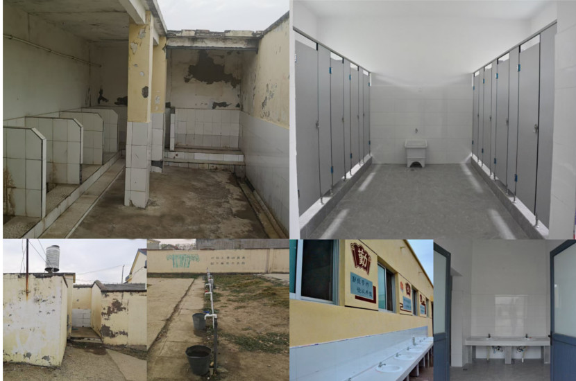 Before (old and dirty) and after (modern and hygenic) pictures of the school's toilets