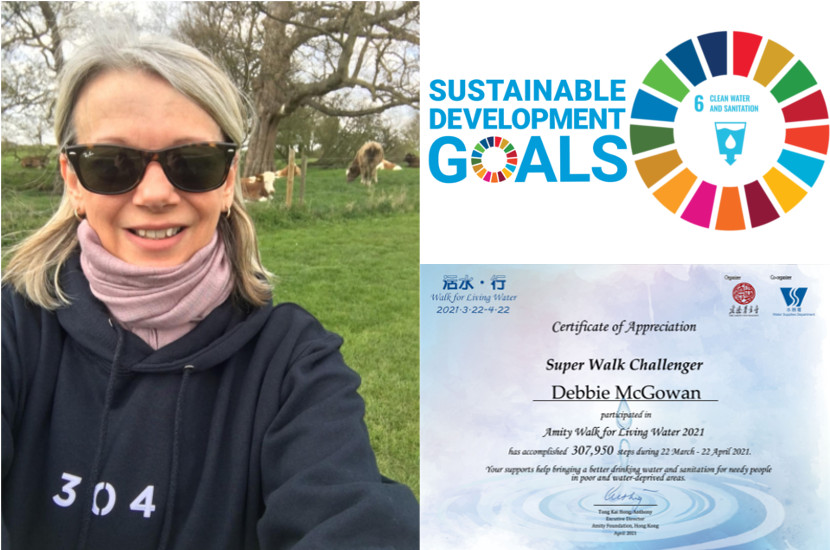 Debbie during her walkathon challenge with as SDG logo and her certification as a super walker