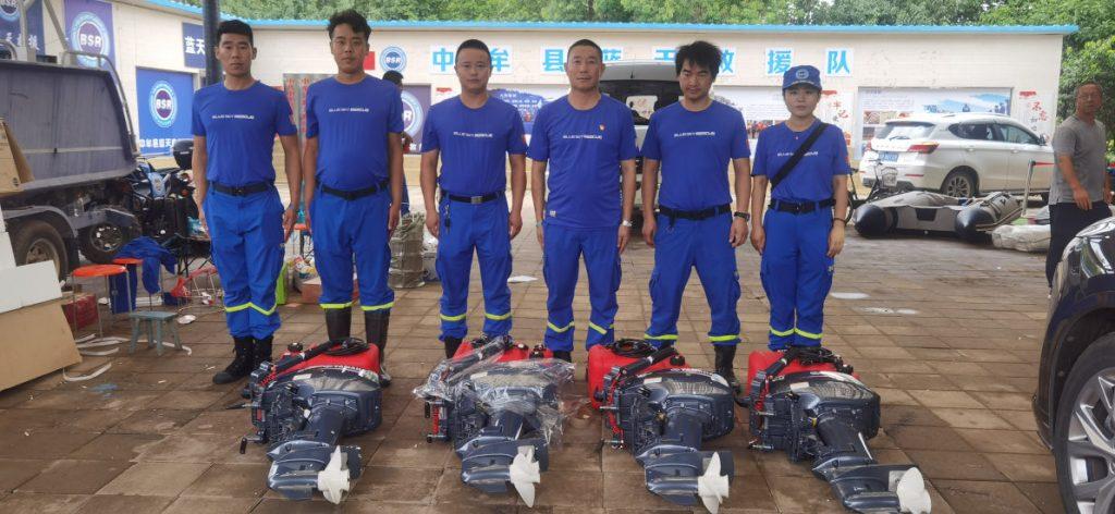 Volunteer rescue organization receiving 4 boat motors donated by Amity